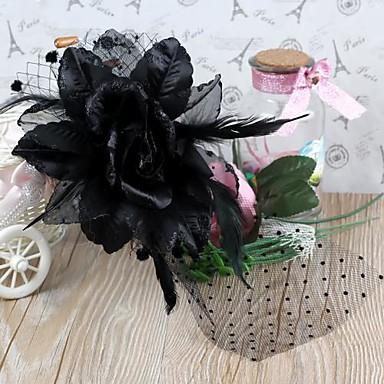 λουλούδι σχήμα των ματιών κεφαλόδεσμο φτερό μαύρο (1pc)