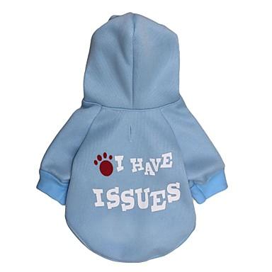 Gato Cachorro Camisola com Capuz Roupas para Cães Carta e Número Azul Claro Ocasiões Especiais Para animais de estimação