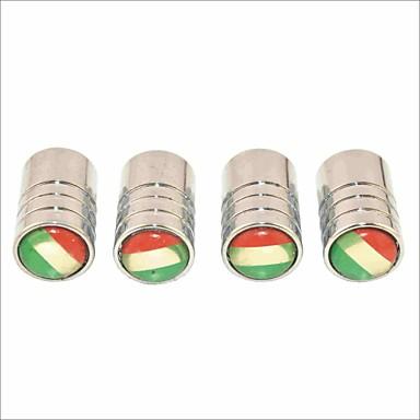 diy italienische Flagge Muster Universalreifenluftventilkappen - Silber (4 Stück)
