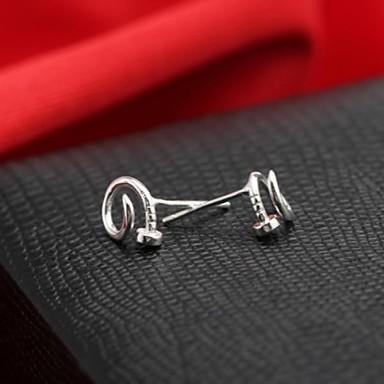 Κλασικό στερλίνα ασημένια σκουλαρίκια αυτί σκουλαρίκια μόδας νυχιών γυναικών