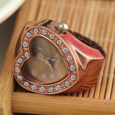 pentru Doamne Ceas La Modă Ceas inel Quartz Placat Cu Aur Roz Aliaj Bandă Vintage Heart Shape Roșu