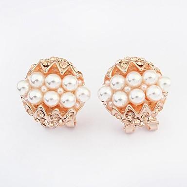 Brincos Curtos Moda Jóias de Luxo Europeu Pérola Imitação de Pérola Strass imitação de diamante Liga Cor Ecrã Jóias Para 2pçs