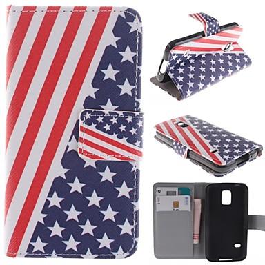 Para Samsung Galaxy Capinhas Porta-Cartão / Com Suporte / Flip / Estampada Capinha Corpo Inteiro Capinha Bandeira Couro PU Samsung S5 Mini