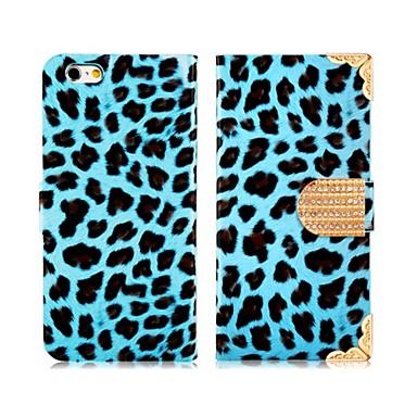 luipaard patroon strass versierd faux lederen flip case met mount staan voor iphone6 (verschillende kleuren)