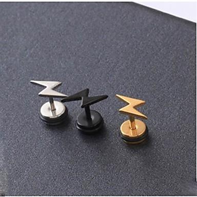 Vidali Küpeler - Titanyum Çelik Alphabet Shape ilk Takı Siyah / Gümüş / Altın Uyumluluk Düğün Parti Günlük