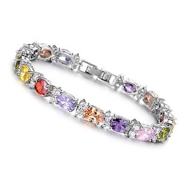Fashion Bridal Jewelry High-Grade Multicolour Zircon Platinum Plated Women's Bracelet (1 Pc)