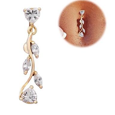 Kübik Zirconia Göbek Halkası / Göbek Piercing - Zirkon, Kübik Zirconia Kalp, Aşk Lüks Kadın's Altın Vücut Mücevheri Uyumluluk Yılbaşı Hediyeleri / Günlük