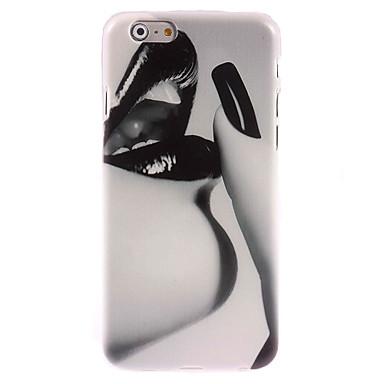 caso projeto de lábio negro duro para o iPhone 6 Plus