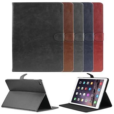 Capinha Para iPad Air 2 Com Suporte Hibernação / Ligar Automático Magnética Capa Proteção Completa Côr Sólida PU Leather para iPad Air 2