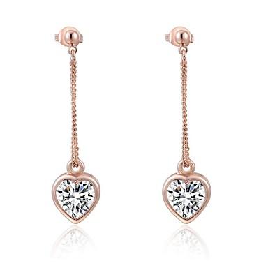 Brincos Compridos Coração Cristal Zircão Chapeado Dourado Formato de Coração Prata Dourado Jóias Para Casamento Festa Diário Casual