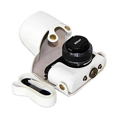 câmera de couro dengpin pu caso capa protetora bolsa com alça de ombro para Nikon 1 J4 / J3 com 10-30mm / 11-27.5mm lente