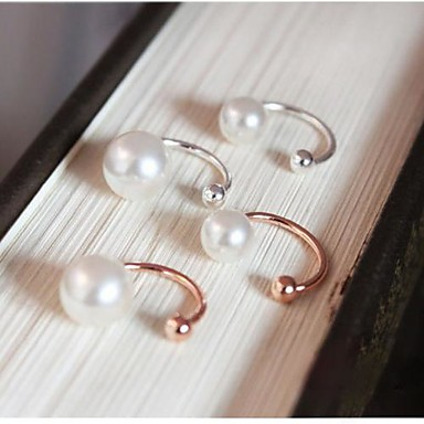 Feminino Punhos da orelha bijuterias Pérola Imitação de Pérola Chapeado Dourado Jóias Para Casamento Festa Diário Casual