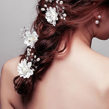 Vrouwen Bloemenmeisje Kristallen Licht Metaal Imitatie Parel Stof Helm-Bruiloft Speciale gelegenheden Haarspeld 3-delig