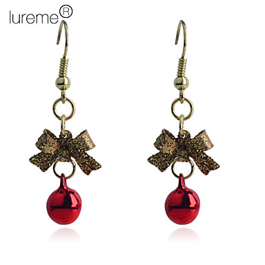 Lureme®Christmas Bowknot Gold Plated Copper Earrings