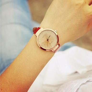 Mulheres Quartzo Relógio de Pulso Venda imperdível Couro Banda Vintage Preta Branco Vermelho Rosa
