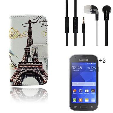 hoesje Voor Samsung Galaxy Kaarthouder Portemonnee met standaard Flip Patroon Volledige behuizing Eiffeltoren Hard PU-leer voor Ace 4
