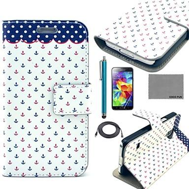 Pentru Titluar Card / Cu Stand / Întoarce / Model Maska Corp Plin Maska Ancoră Greu PU piele Samsung S5 Mini