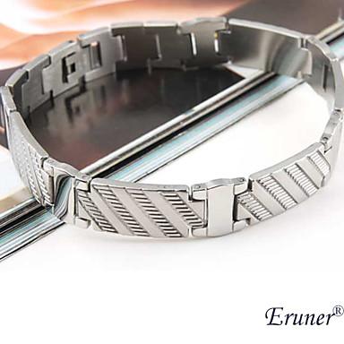 titanio pulsera de acero patrón de rayas de eruner®men (plata)