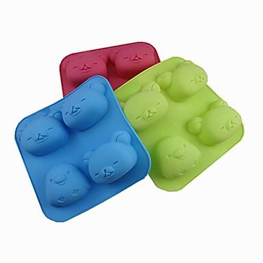 4 buracos moldes forma pintinho urso bolo de gelo geléia de chocolate, silicone 18 × 18 × 3,5 centímetros (7,09 × 7,09 × 1,4 polegadas) cor aleatória