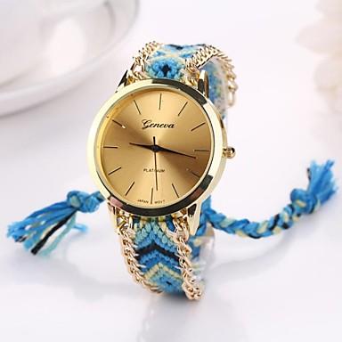 Mulheres Quartzo Relógio Casual Tecido Banda Boêmio Preta