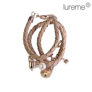 Dam Berlock Armband Armband av Remmar Pärla Läder Legering Cirkel Form Geometrisk 2 3 4 5 6 Smycken För Party Dagligen Casual