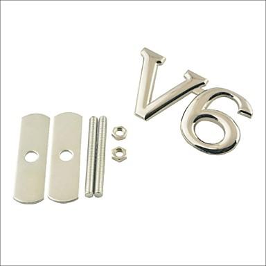 3d v6 διακόσμηση σχάρα έμβλημα αυτοκίνητο tuning - ασημί