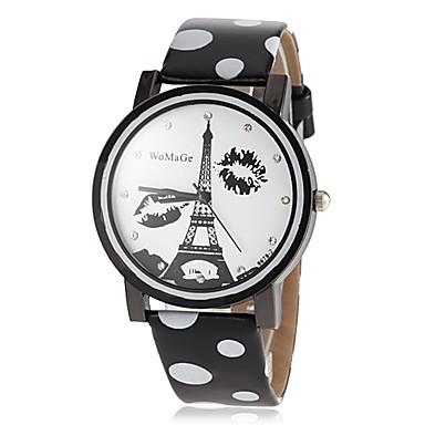 Dames Dress horloge Modieus horloge Kwarts PU Band Eiffeltoren Zwart Wit Blauw Rood