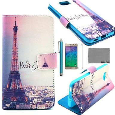 Para Porta-Cartão / Carteira / Com Suporte / Flip / Estampada Capinha Corpo Inteiro Capinha Torre Eiffel Rígida Couro PU Samsung Alpha