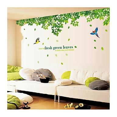 muurstickers muur stickers, stijl verse groene bladeren en vogel pvc muurstickers