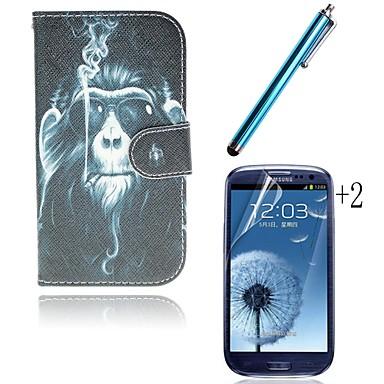 κάπνισμα ουραγκοτάγκος pu δέρμα γεμάτο υπόθεση σώμα με υποδοχή κάρτας με γραφίδα και προστατευτική μεμβράνη 2 τμχ για i9300 της Samsung S3
