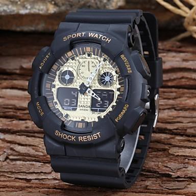 SANDA Masculino Relógio Esportivo Relogio digital Quartzo Digital LCD Calendário Cronógrafo Dois Fusos Horários alarme Borracha Banda