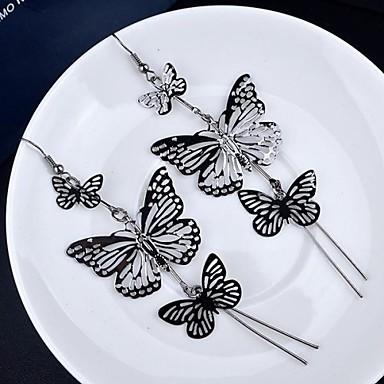 Damen Mehrschichtig Tropfen-Ohrringe - vergoldet Schmetterling, Tier Retro, Mehrlagig Gold / Schwarz / Silber Für