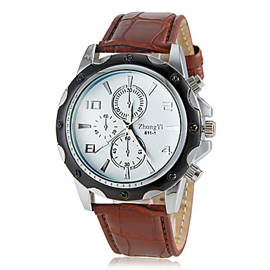 Homens Relógio de Pulso Venda imperdível PU Banda Amuleto / Relógio Elegante Preta / Branco / Marrom