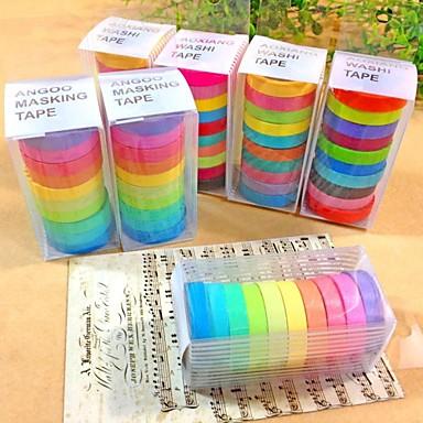 30pcs populaire regenboog washi kleverige papieren masking zelfklevende decoratieve tape scrapbooking diy voor decoratieve 10 kleuren