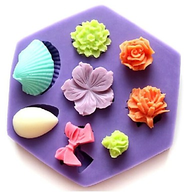 Mini stiegen Shell bowknot Blume geformt Fondantkuchen Schokoladensilikonform Kuchendekorationswerkzeuge, l8.5cm * w7.5cm * h1.3cm