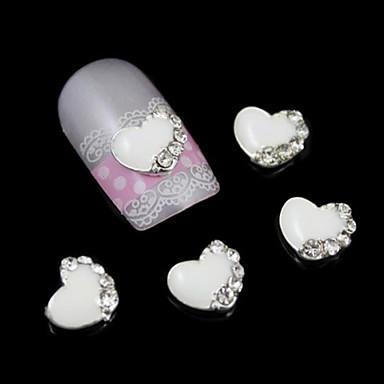 10pcs acessórios coração branco para cola prego liga diy nail art decoração