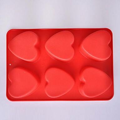6 buracos moldes forma de coração bolo de gelo geléia de chocolate, silicone 27 × 18 × 3 cm (10,7 × 7,1 × 1,2 polegadas)