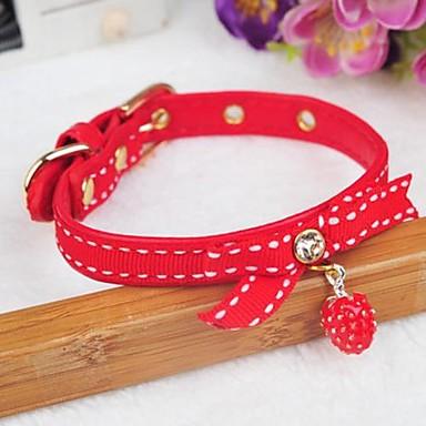 einstellbare PU-Leder Erdbeer-Anhänger verziert Halsband für Hunde