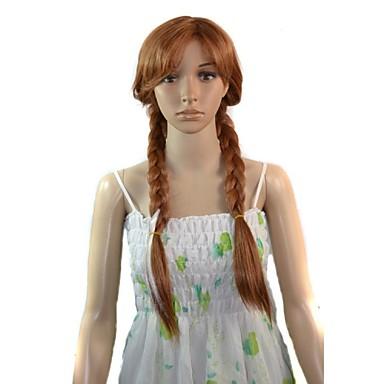 γυναίκες cosplay κινούμενα σχέδια καιρό anna πριγκίπισσα συνθετική περούκα ανθεκτικά στην θερμότητα ινών φθηνό μέρος για τα μαλλιά περούκα
