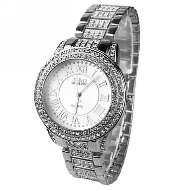 Mulheres Relógio Elegante Quartzo imitação de diamante Lega Banda Brilhante Prata Prata