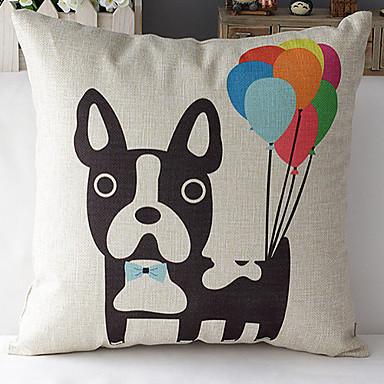 μοντέρνο στυλ κινουμένων σχεδίων σκυλί με μπαλόνια μοτίβο βαμβάκι / λινό κάλυμμα διακοσμητικό μαξιλάρι