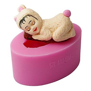 quatro c bebê molde de cozimento do silicone dormir queque top decoração cor-de-rosa do molde