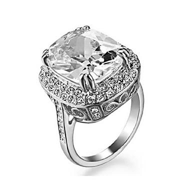 Anéis Casamento / Pesta / Diário / Casual Jóias Cristal / Chapeado Dourado Feminino Anéis Statement 1pç,7 / 8 / 9 Prateado