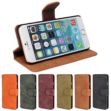 tok Για Apple iPhone 6 iPhone 6 Plus Θήκη καρτών Πορτοφόλι με βάση στήριξης Ανοιγόμενη Παγωμένη Πλήρης Θήκη Συμπαγές Χρώμα Σκληρή PU δέρμα