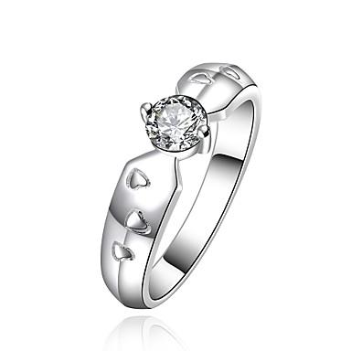 Dames Ring Synthetische Diamant Zilver Verzilverd Rond Wings Standaard Kerstcadeaus Bruiloft Feest Speciale gelegenheden  Vuosipäivä