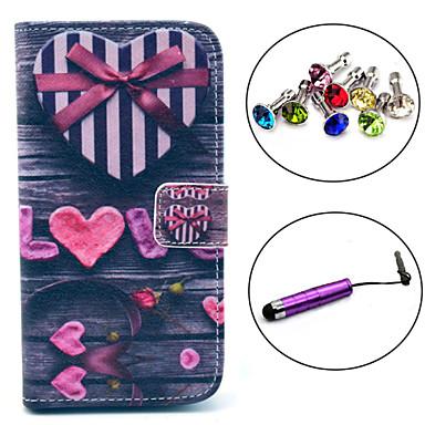 Para Porta-Cartão / Carteira / Com Suporte / Flip / Estampada Capinha Corpo Inteiro Capinha Coração Rígida Couro PU Samsung S3