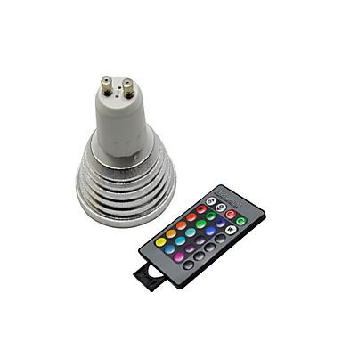 3W / lm GU10 Lâmpadas de Foco de LED 3 leds Controle Remoto RGB AC 220-240V