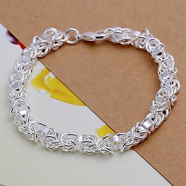 Heren Verzilverd Armbanden met ketting en sluiting - Zilver Armbanden Voor Kerstcadeaus Bruiloft Feest