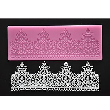 quatro c decoração mat rendas silicone bolo pad bolo texturizado cor-de-rosa do molde