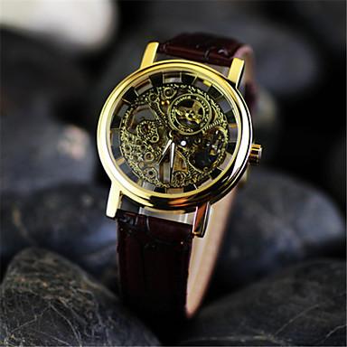 Masculino relógio mecânico Relógio de Pulso Mecânico - de dar corda manualmente Gravação Oca Couro Banda Marrom Preto Prata Dourado